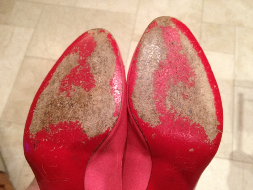 My 1st DIY Christian Louboutin red Vibram Rubber Re-sole ...