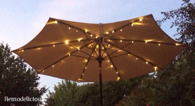 String Lights On Umbrella : Patio Umbrella Solar LED Lights (Finally) remodelicious
