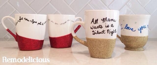DIY Glitter  Quote Mugsremodelicious