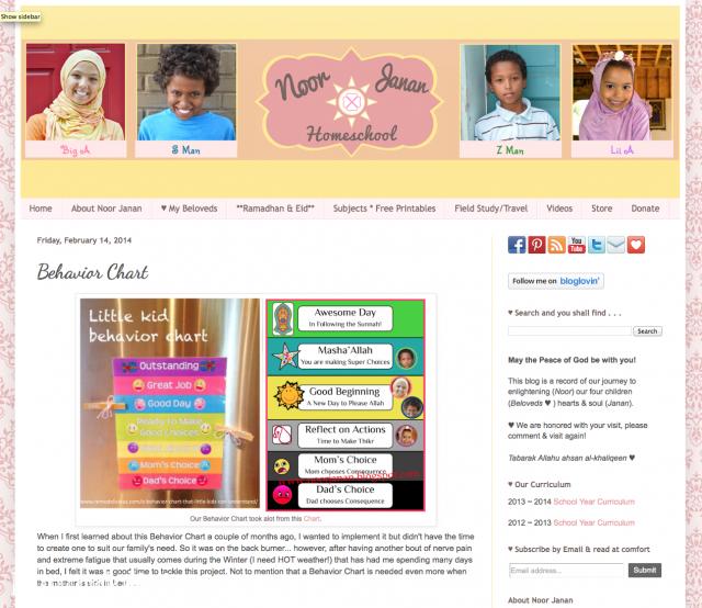 Behavior Charts at Noor Janan Homeschool